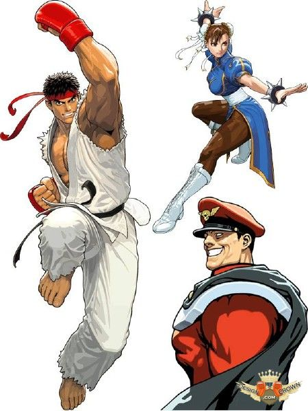 Fighting clipart street fighter. Game vector illustrations with