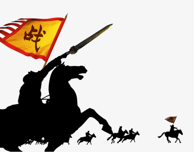 Fighting clipart victory flag. Riding holding banners horse