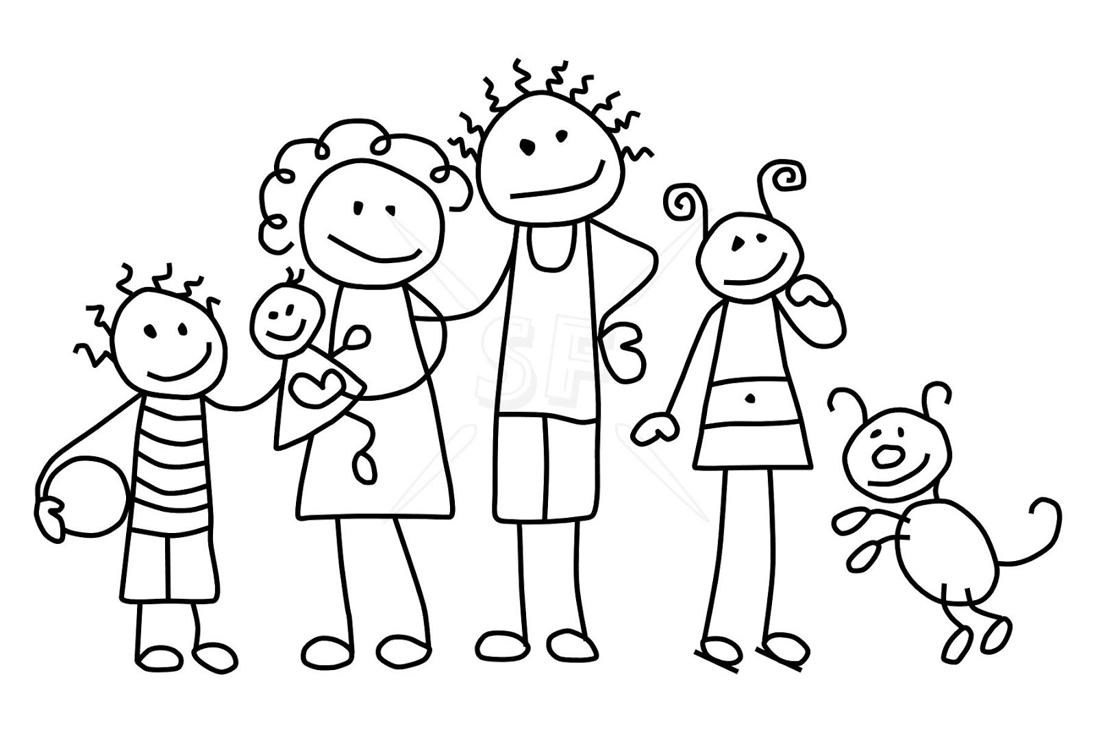 Figure clipart 7 person family. Stick drawing at getdrawings