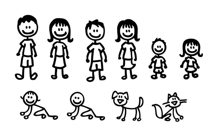 Figure clipart 7 person family. Stick