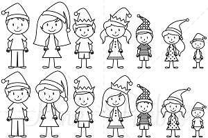 Figure clipart. Christmas stick illustrations creative