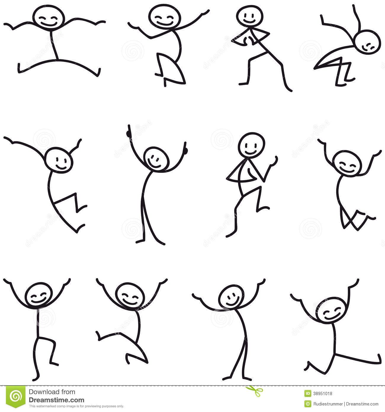 Figure clipart excitement. Stick man happy jumping