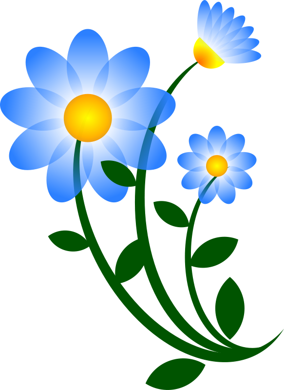 Vector nature clip art. Flower blue motif free