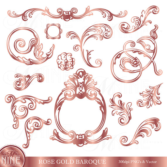Filigree clipart embellishment. Rose gold clip art