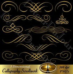 Filigree clipart embellishment. Card making digital flourishes