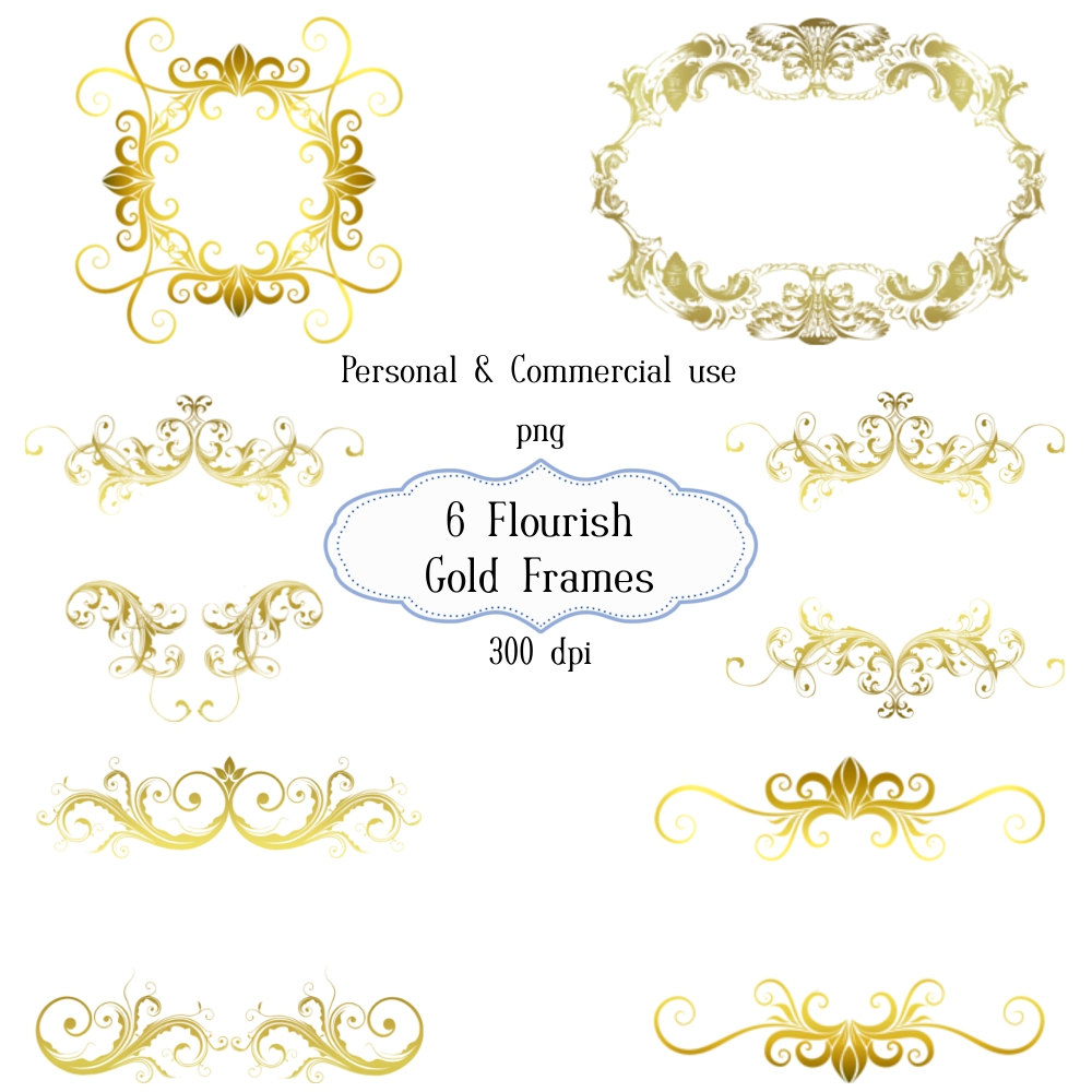 Flourishes clipart frame. Gold flourish