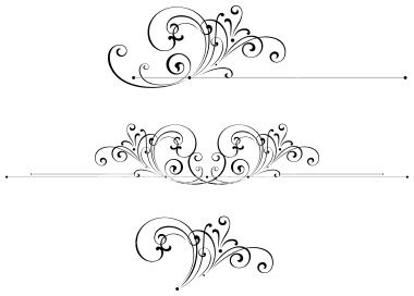 Filigree clipart scrollwork. A set of scroll