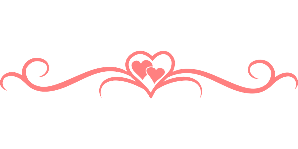 Flourish vector png. Hearts separator swirls
