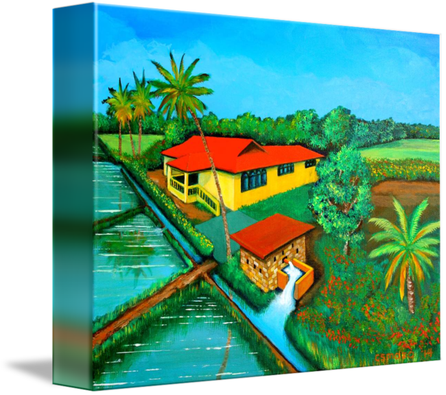 Filipino drawing landscape. House with a water