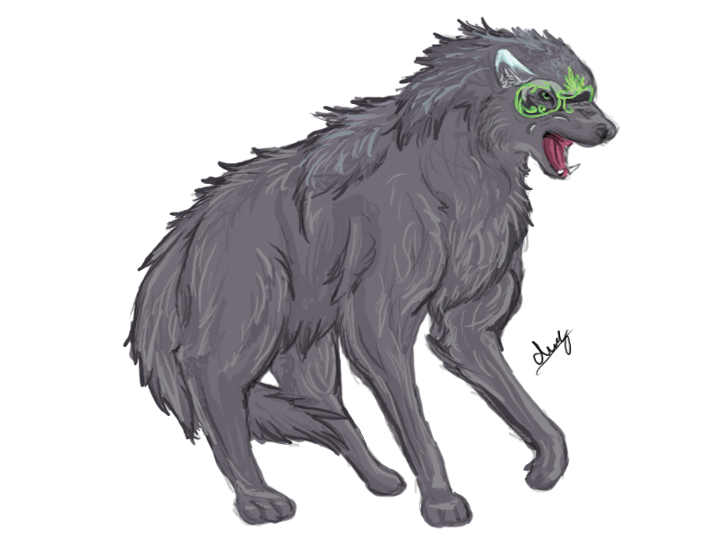 Filipino drawing mythical creature. Secrets wolf sketch by