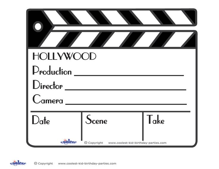 Film clipart clapper board. Movie clapboard template enaction