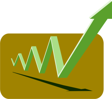 Financial clipart logo. Bar chart profit curve
