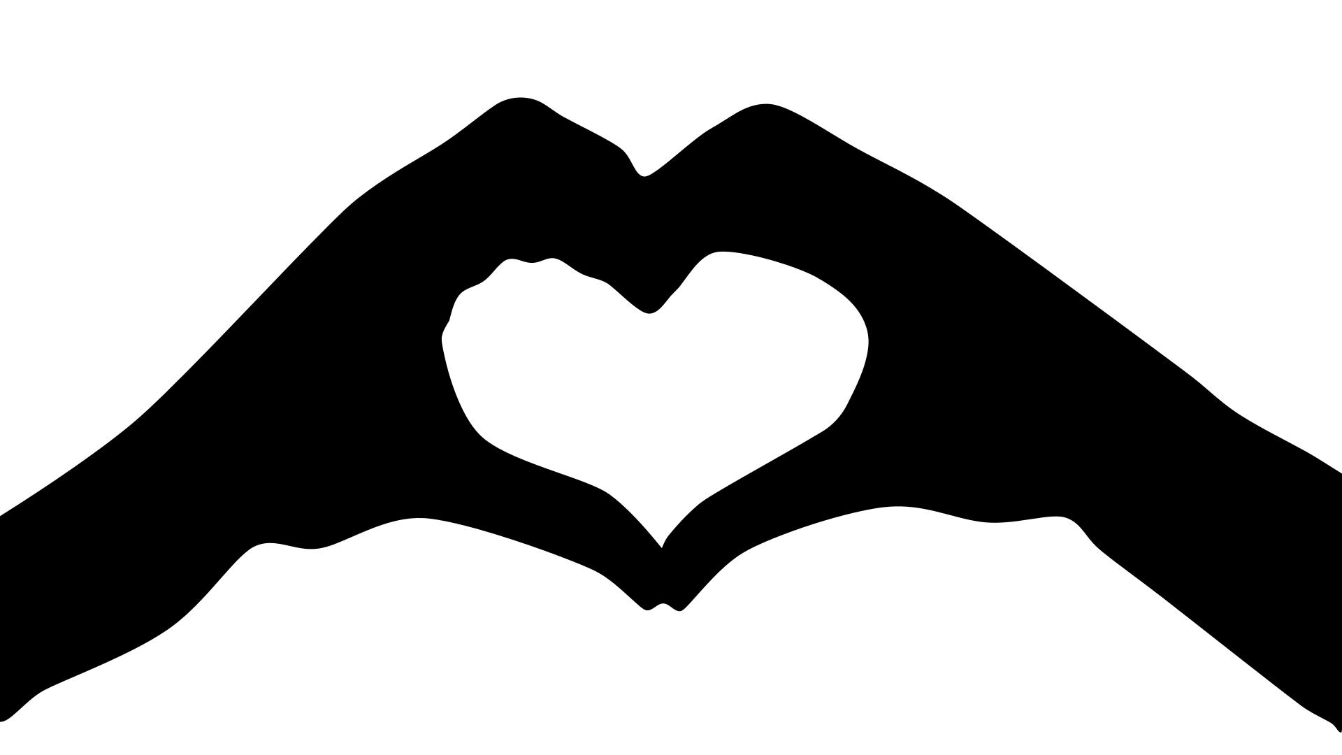 Finger clipart silhouette. Heart hands at getdrawings