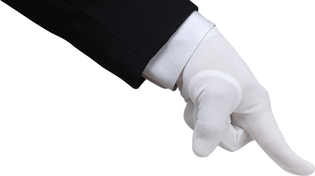 Finger clipart white glove. Hand in pushing down