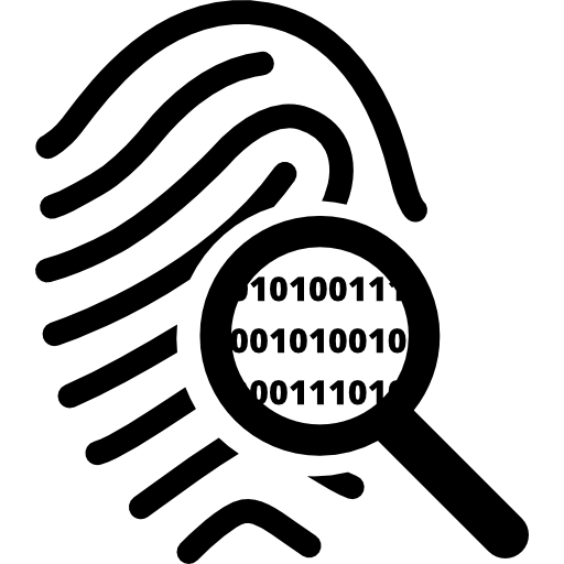 Fingerprint clipart magnifier. Search symbol of secret
