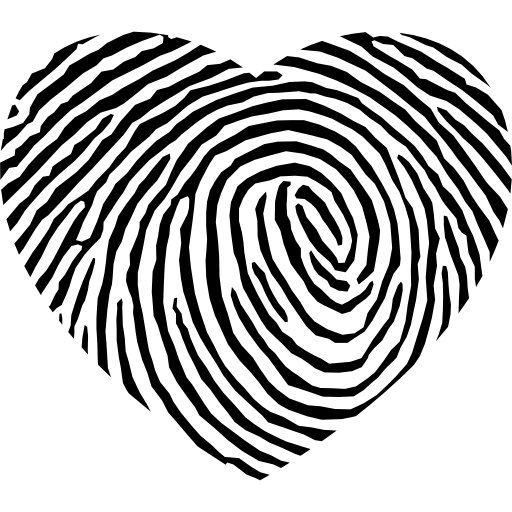 Futuristic vector digital pattern. Fingerprint heart shape free