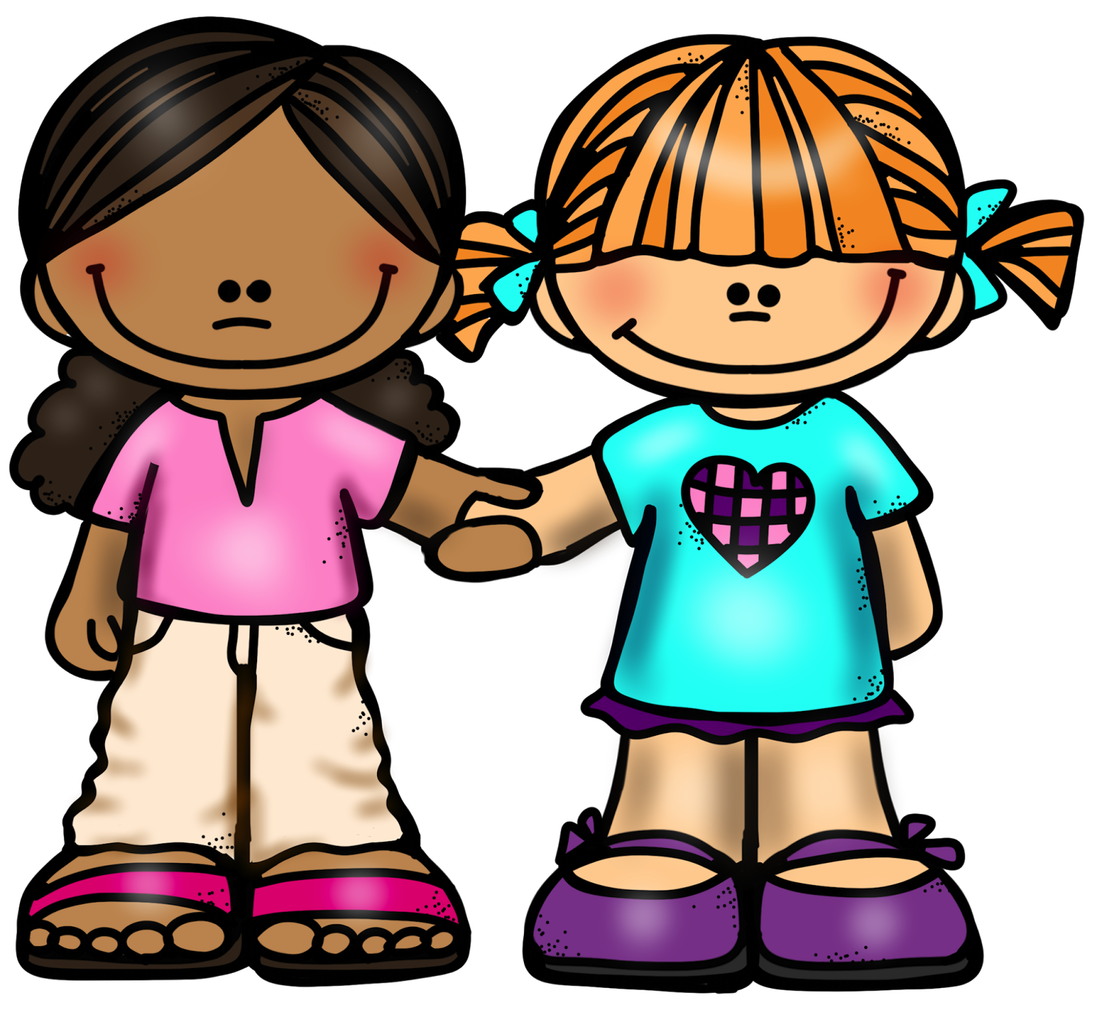 Girl holding hands png. Friendship clipart friends house clipart black and white library