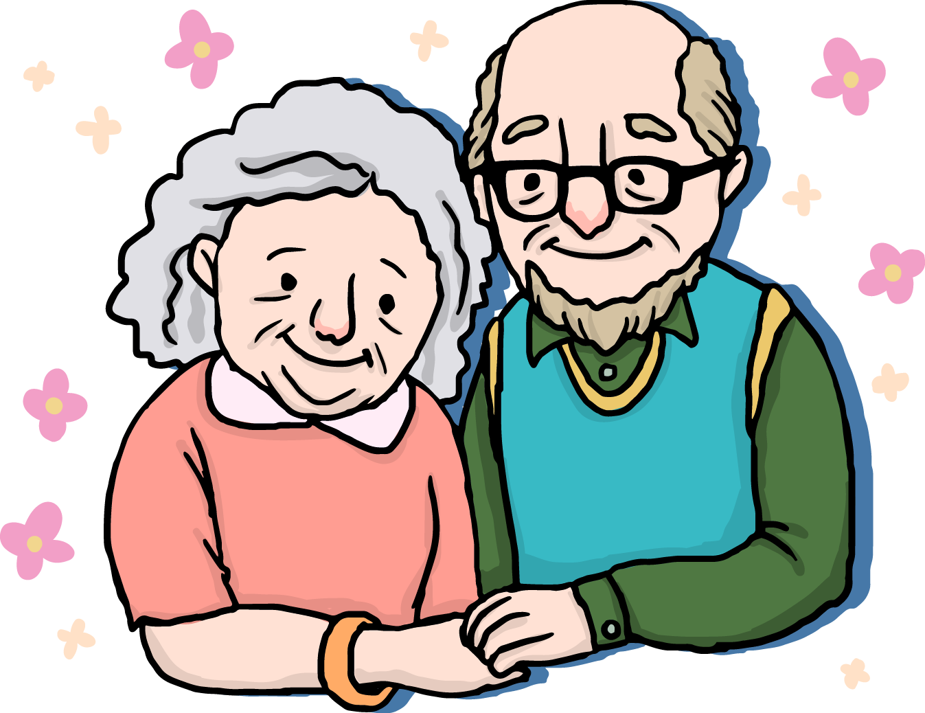 Fingers drawing happiness. Couple old age cartoon