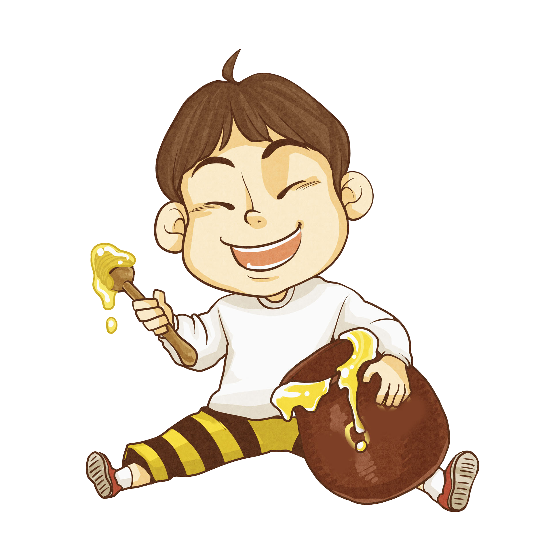 Fingers drawing happiness. Honey food eating little