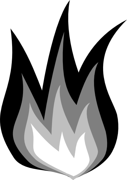 Fire clip black and white. Clipart