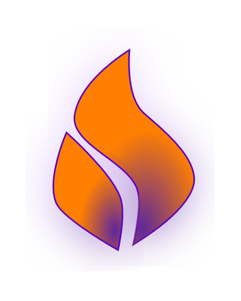 Fire clip holy spirit. Flame purple orange art