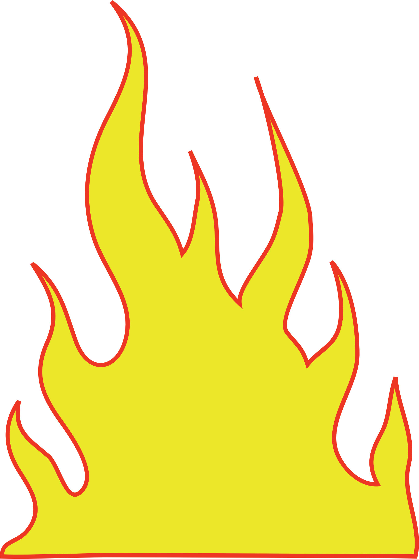 Fire clip yellow. Collection of free flaming