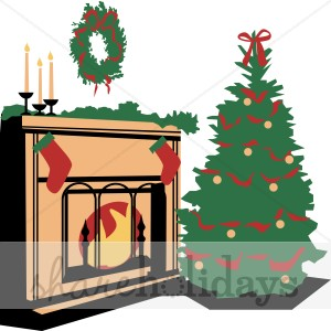Fire clipart christmas tree. By the fireplace stocking