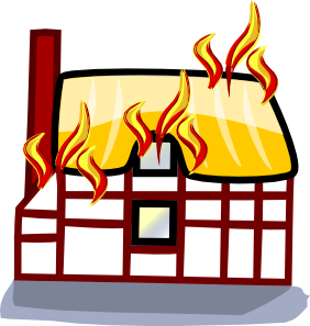 Fire clipart house fire vector transparent library