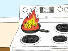 Fire clipart kitchen fire. Grease