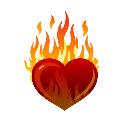 Heart, png flame. Image heart on fire
