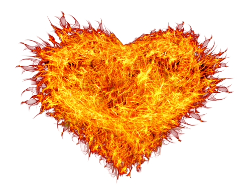 Heart, png flame. Fire heart transparent image