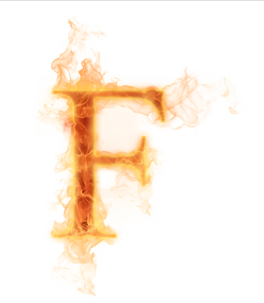 Fire letter f png. Burning psd official psds
