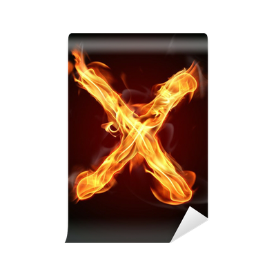 Fire letter x png. Wall mural pixers we