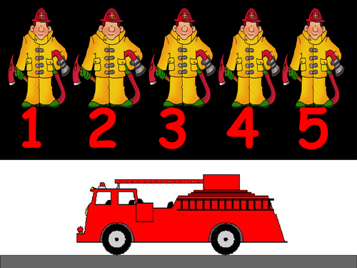 Firefighter clipart five. Little firemen counting down