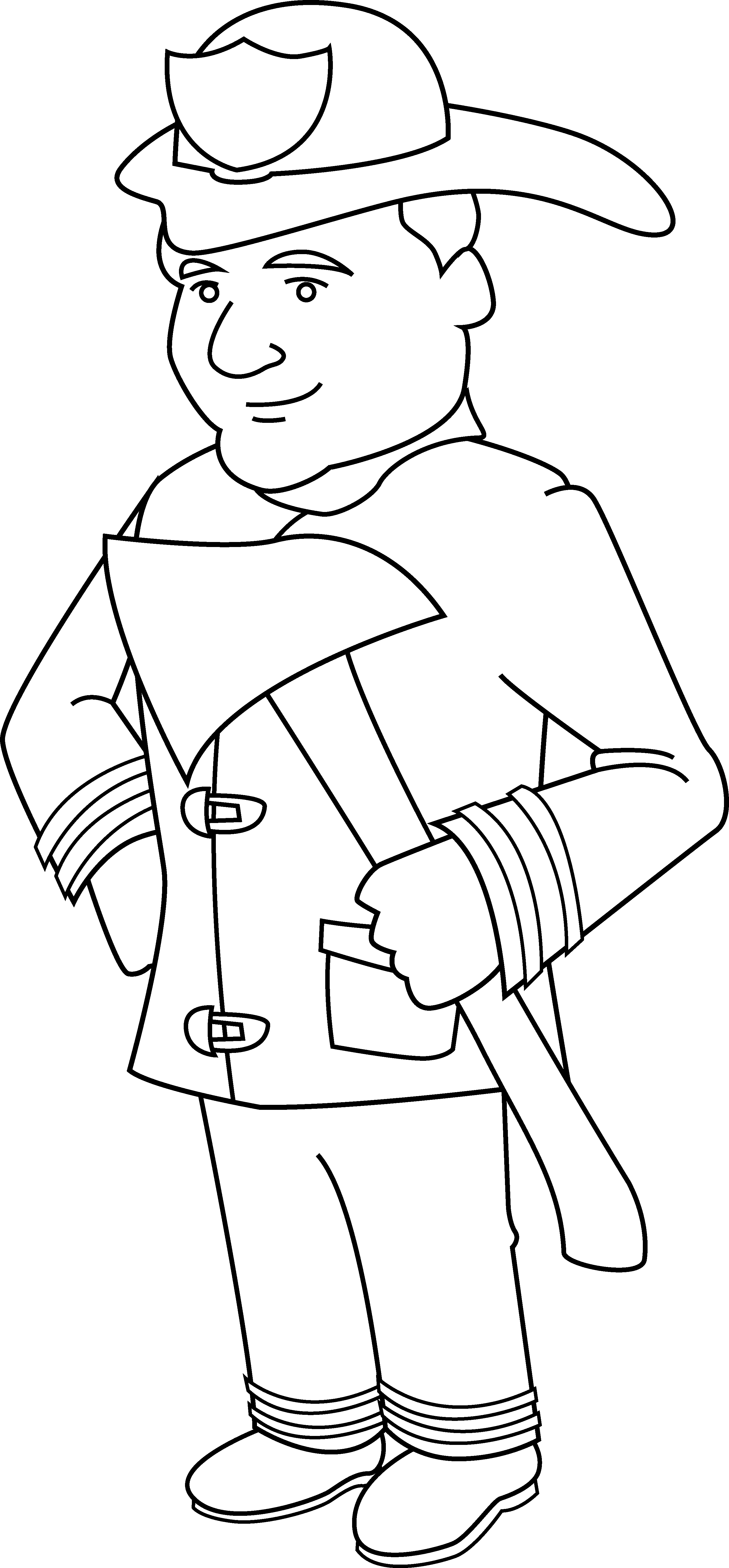 Firefighter clipart male firefighter. Coloring page free clip