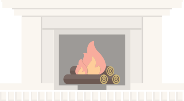 Vector furniture interior. Free online fireplace fire