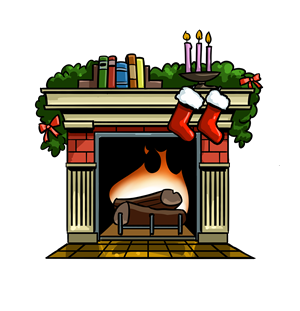 Fireplace clipart santa.