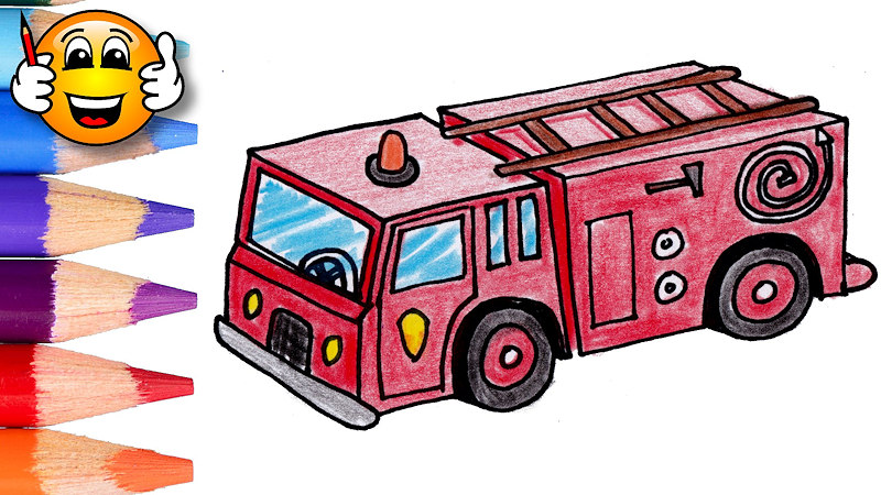 Firetruck clipart draw. Fire engine drawing at