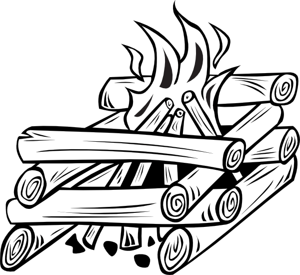 Firewood clipart stack wood. Pile black and white