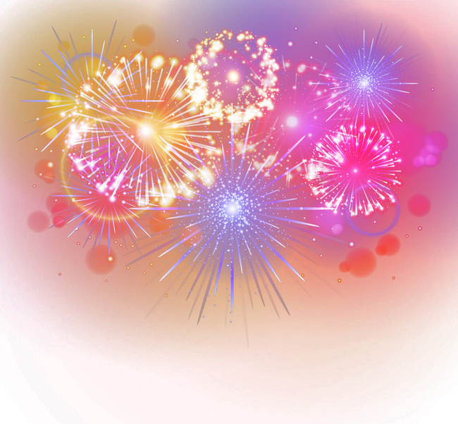 Fireworks clip special event. Birthday cake greeting card
