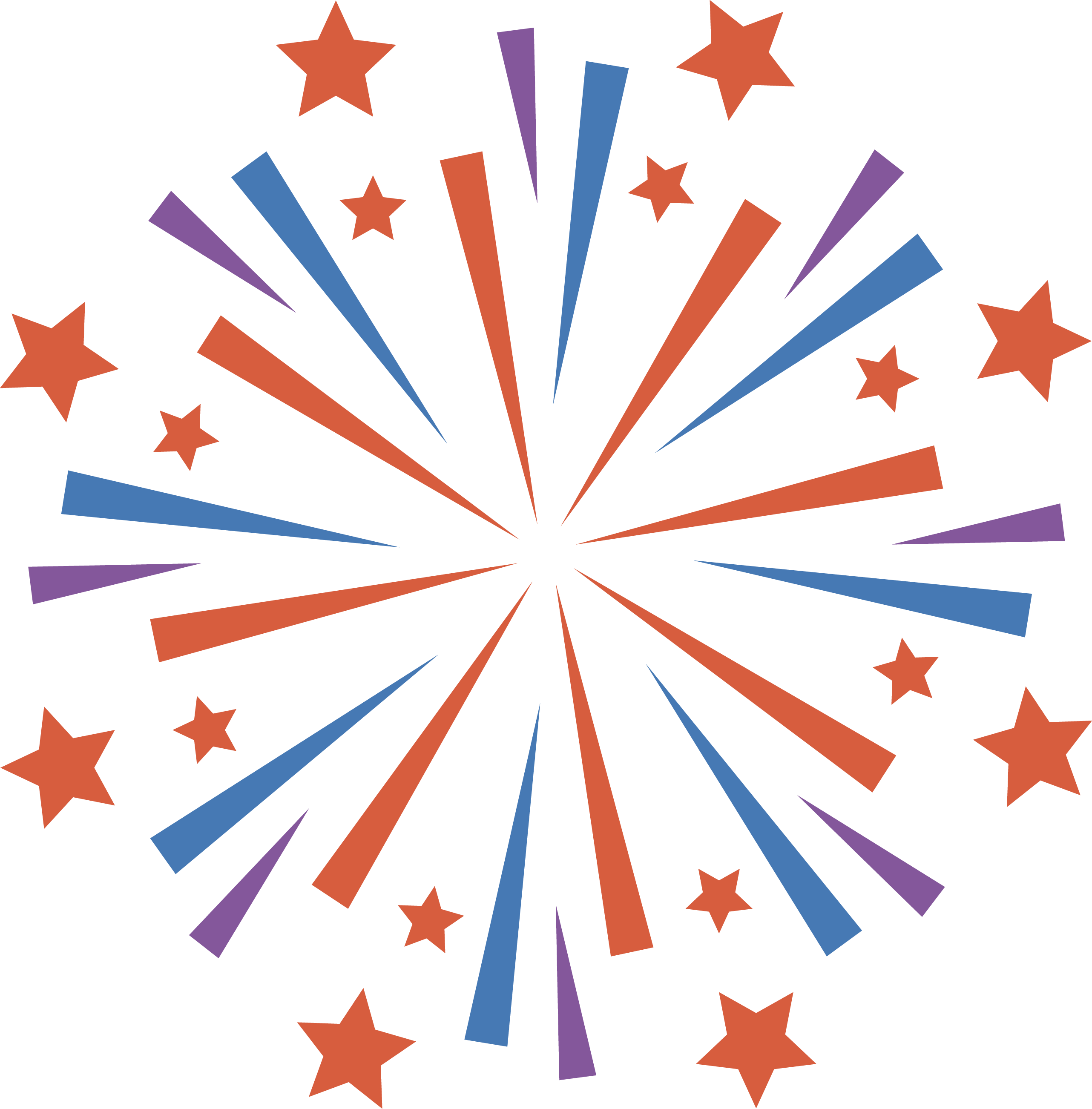 Fireworks clip star. Red and blue pattern