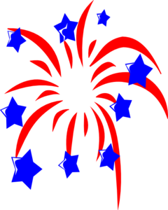Fireworks clip star. Red with blue stars