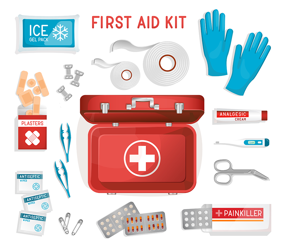 First aid kit clipart extra battery. Car checklist the essentials