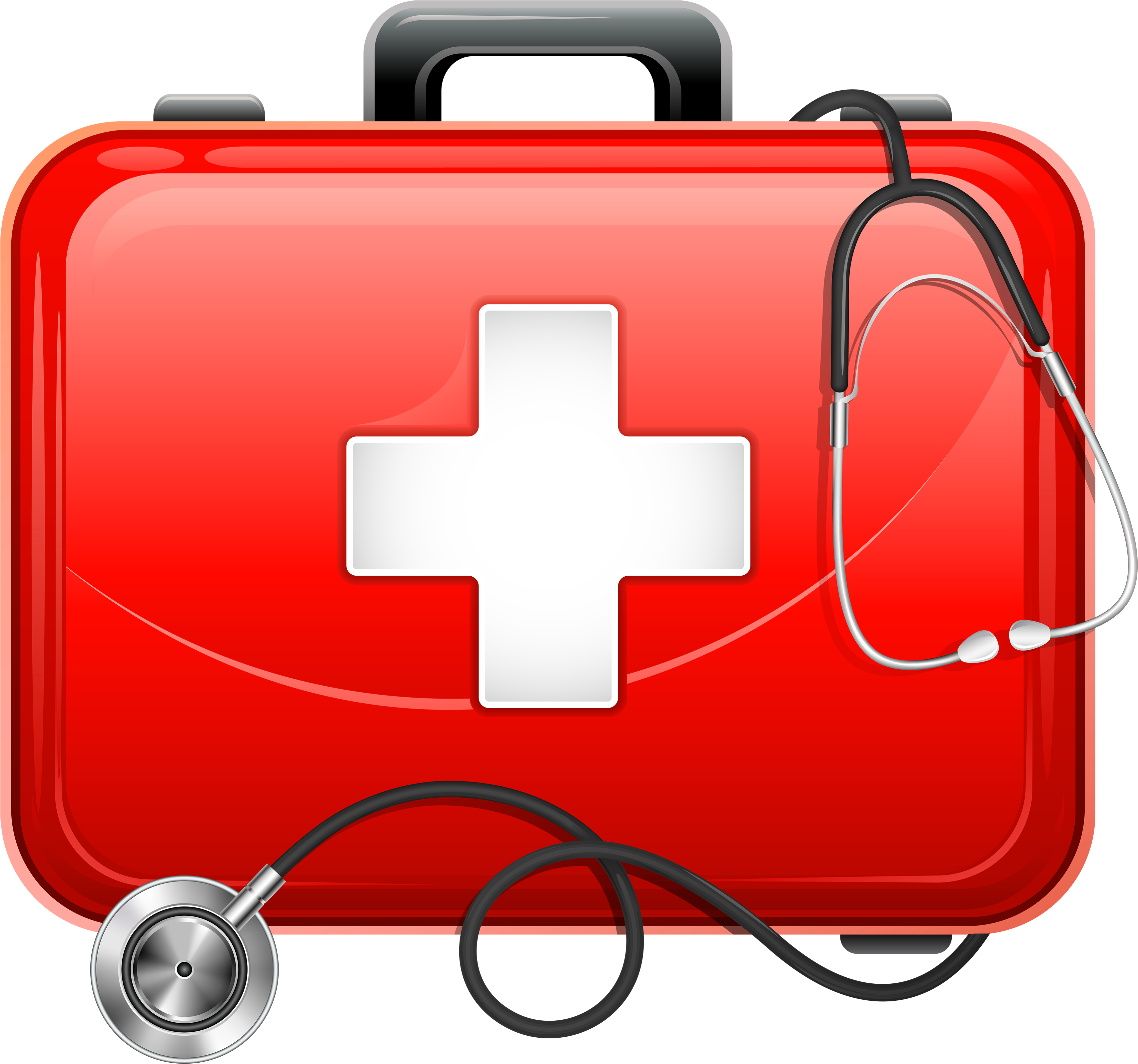 Transparent stethoscope first aid. Download medical bag and