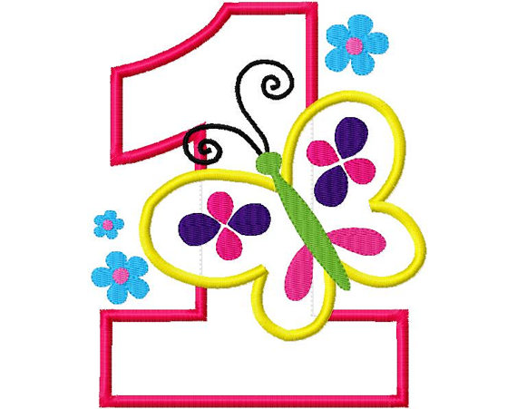 First clipart number one. Birthday butterfly design applique