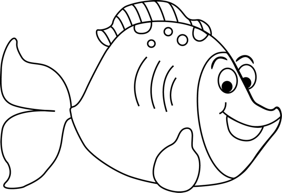 Fish clip art black and white. Cartoon