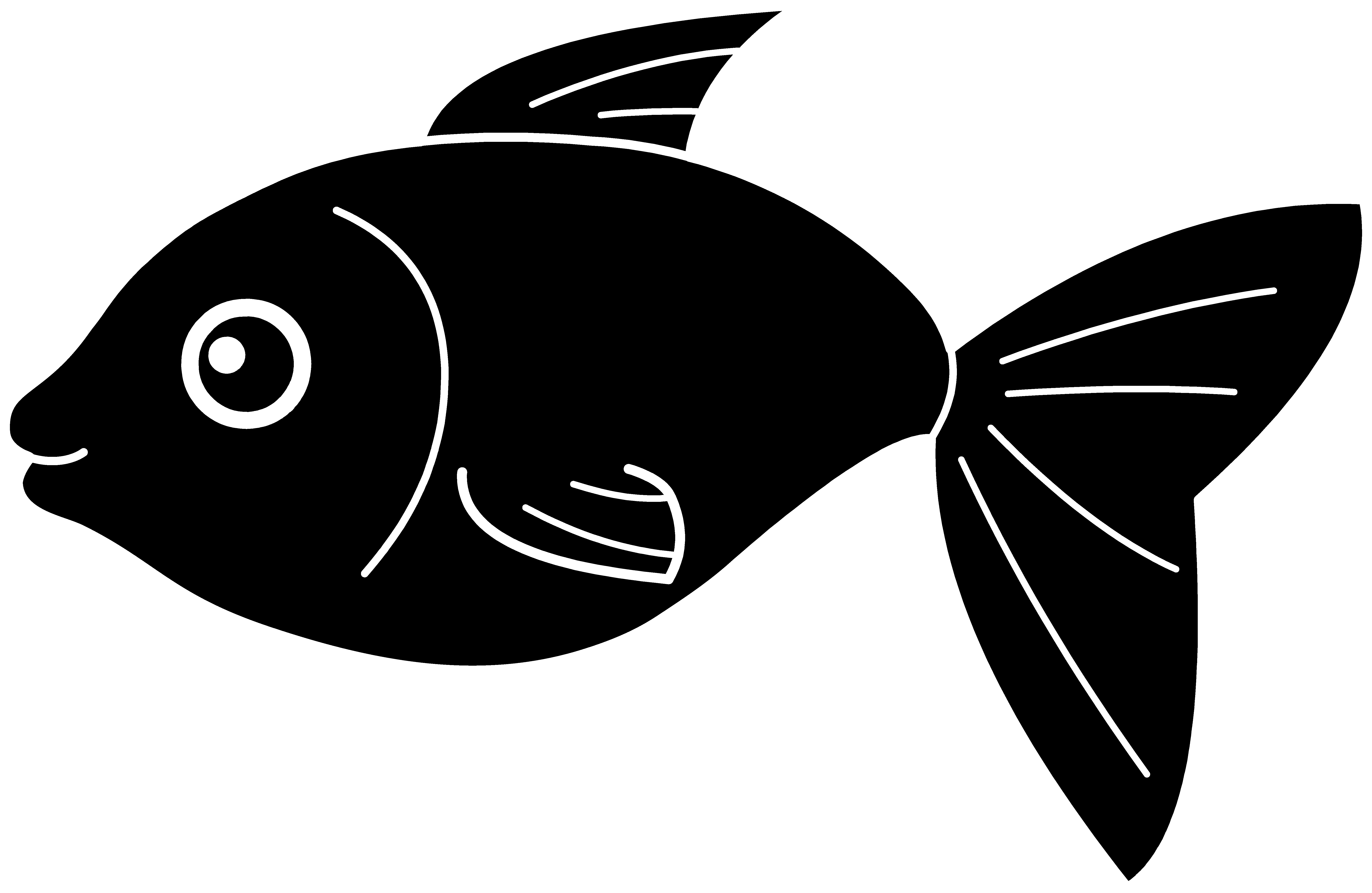 Fish clip art black and white. Silhouette pattern