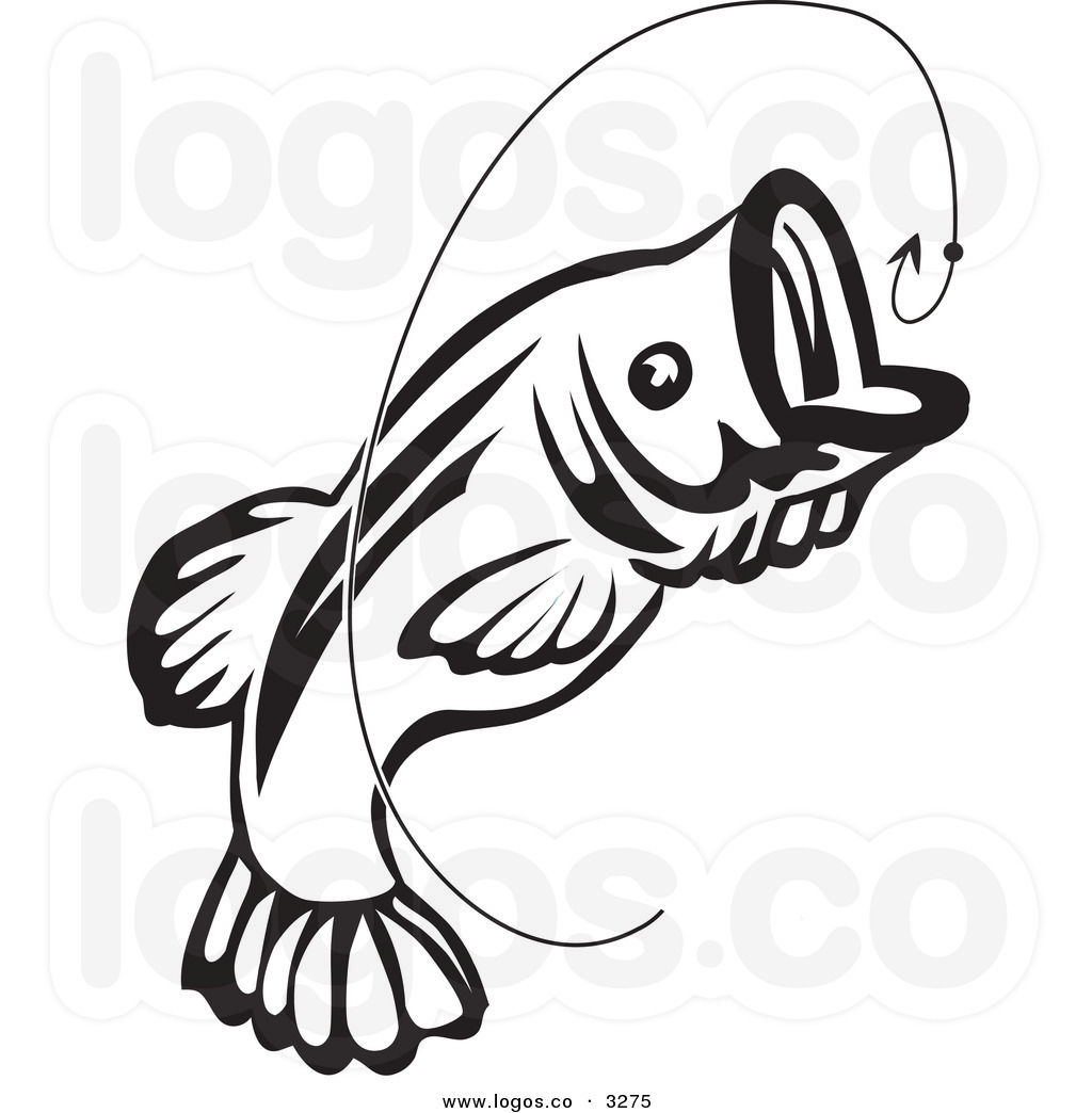 Fish clip art black and white. Bass hook clipart