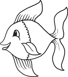 Fish clip art black and white. Little image outline cartoon