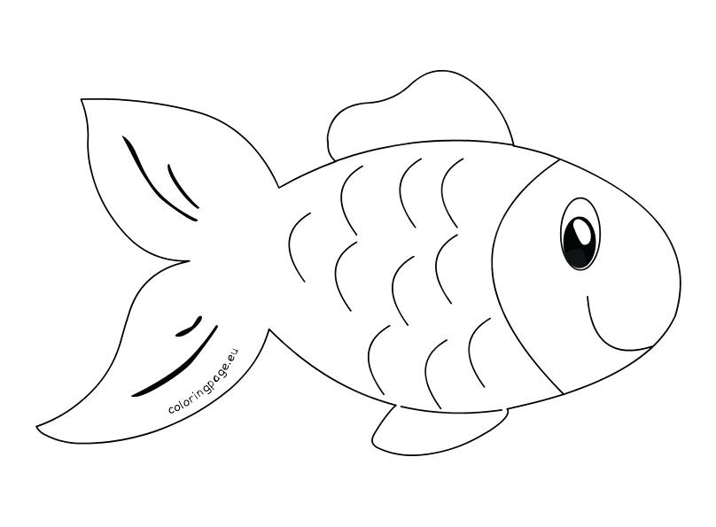 Fish clip art coloring page. Fishbowl outline printable